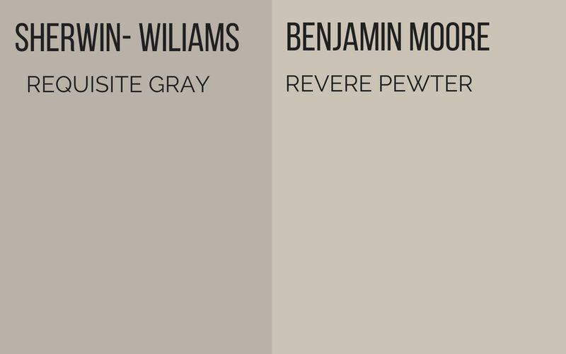 sherwin-williams requisite gray vs benjamin moore revere pewter