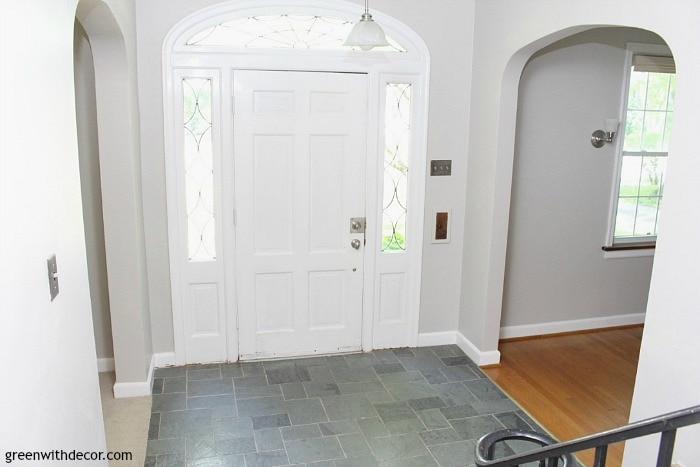 agreeable gray foyer by Green with Decor- best gray paint colors