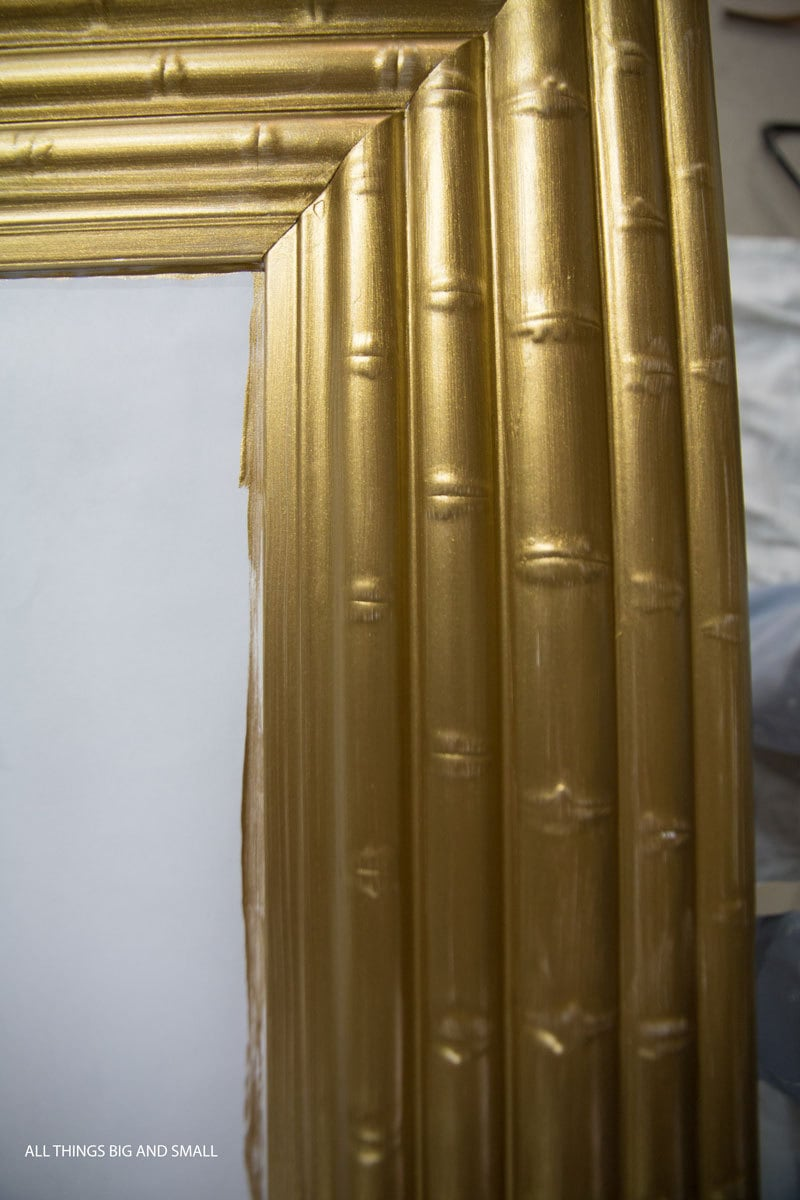 Painting tips for an easy DIY Gold Framed Mirror that looks amazing!