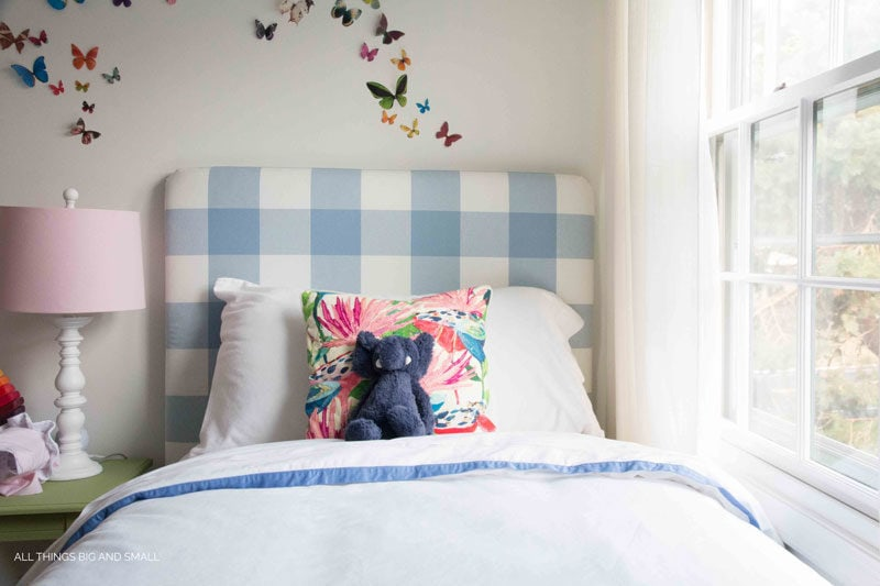 blue buffalo check fabric headboard