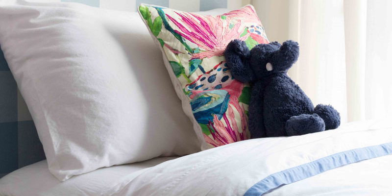 Darling blue border duvet from Serena & Lily