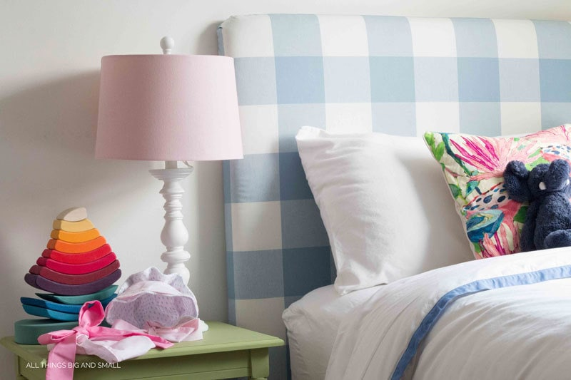 DIY headboard Blue buffalo check such a cute nursery makeover