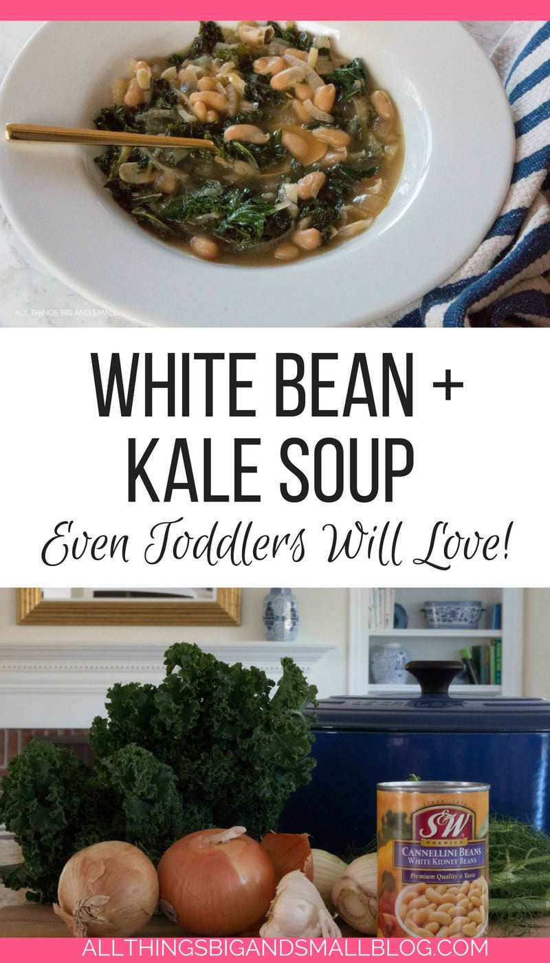 THE BEST white bean kale soup recipe my kids ACTUALLY EAT! #AD @SWBeans