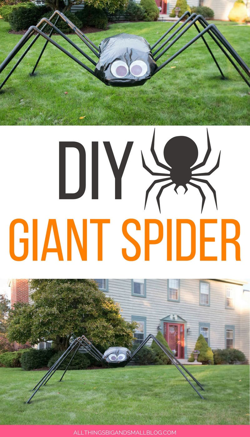 DIY Giant Spider Decoration in front yard--such a cute Halloween outside decoration!
