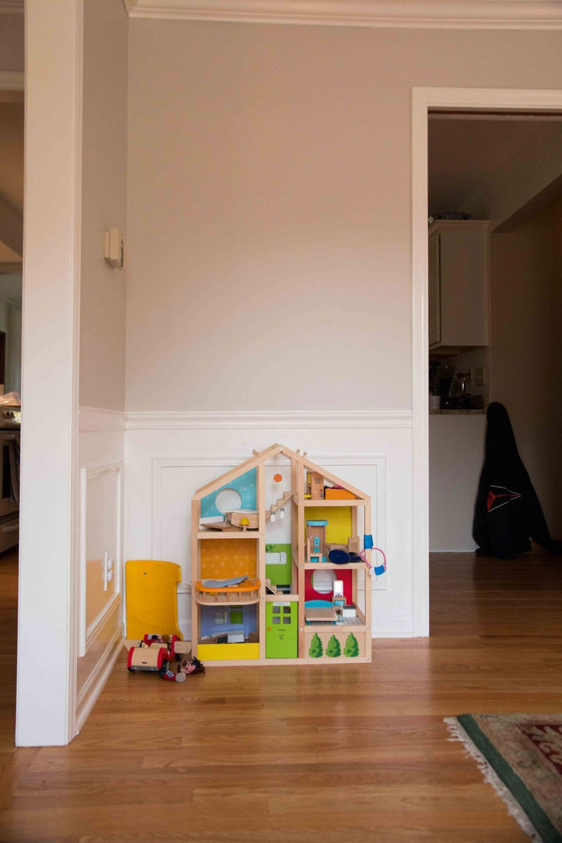 playroom with doll house- montessori gift guide toys - Montessori Gifts that Kids AND Parents Will Love by popular mom blogger DIY Decor Mom