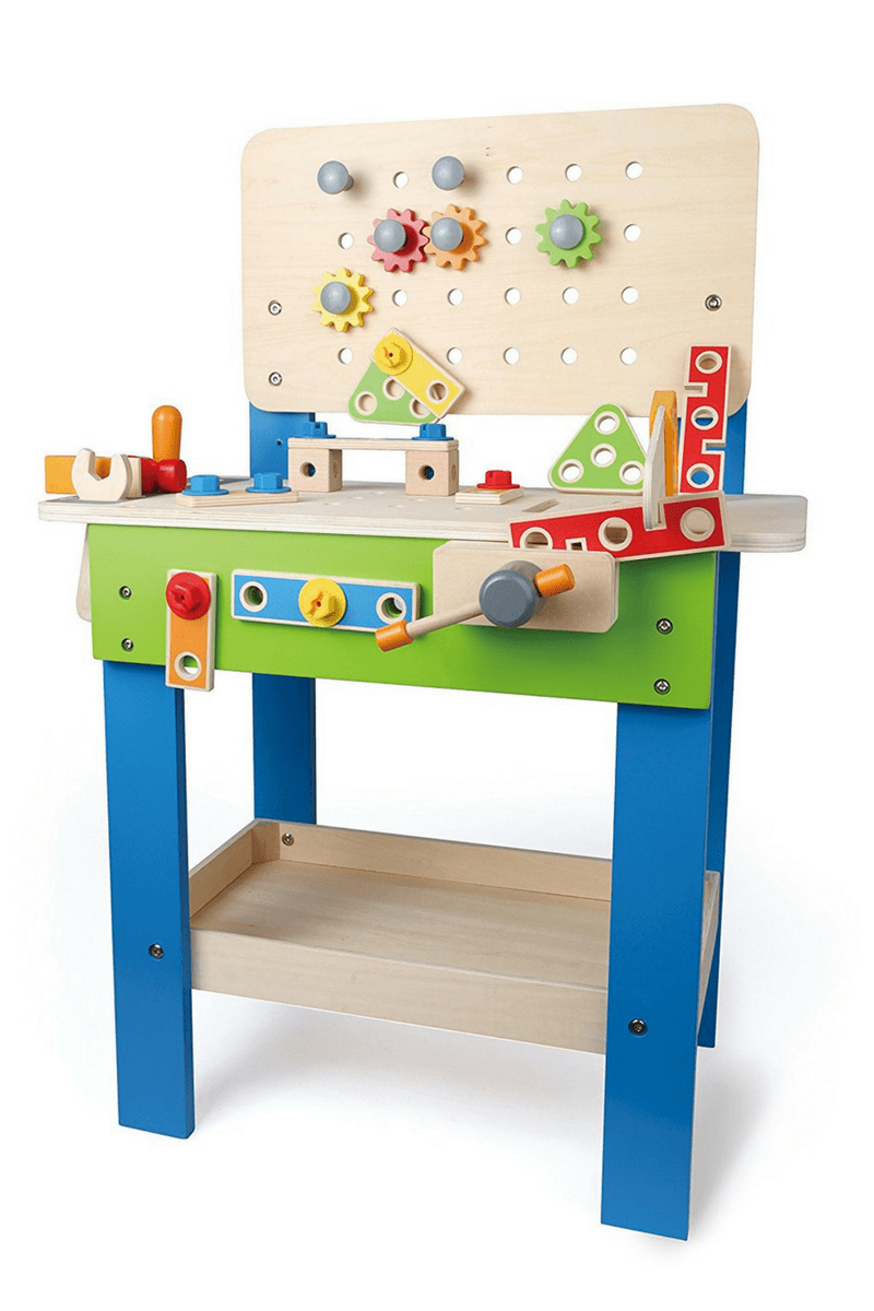 best toys for two year old boys- wooden toy bench the perfect gift for two year old boys