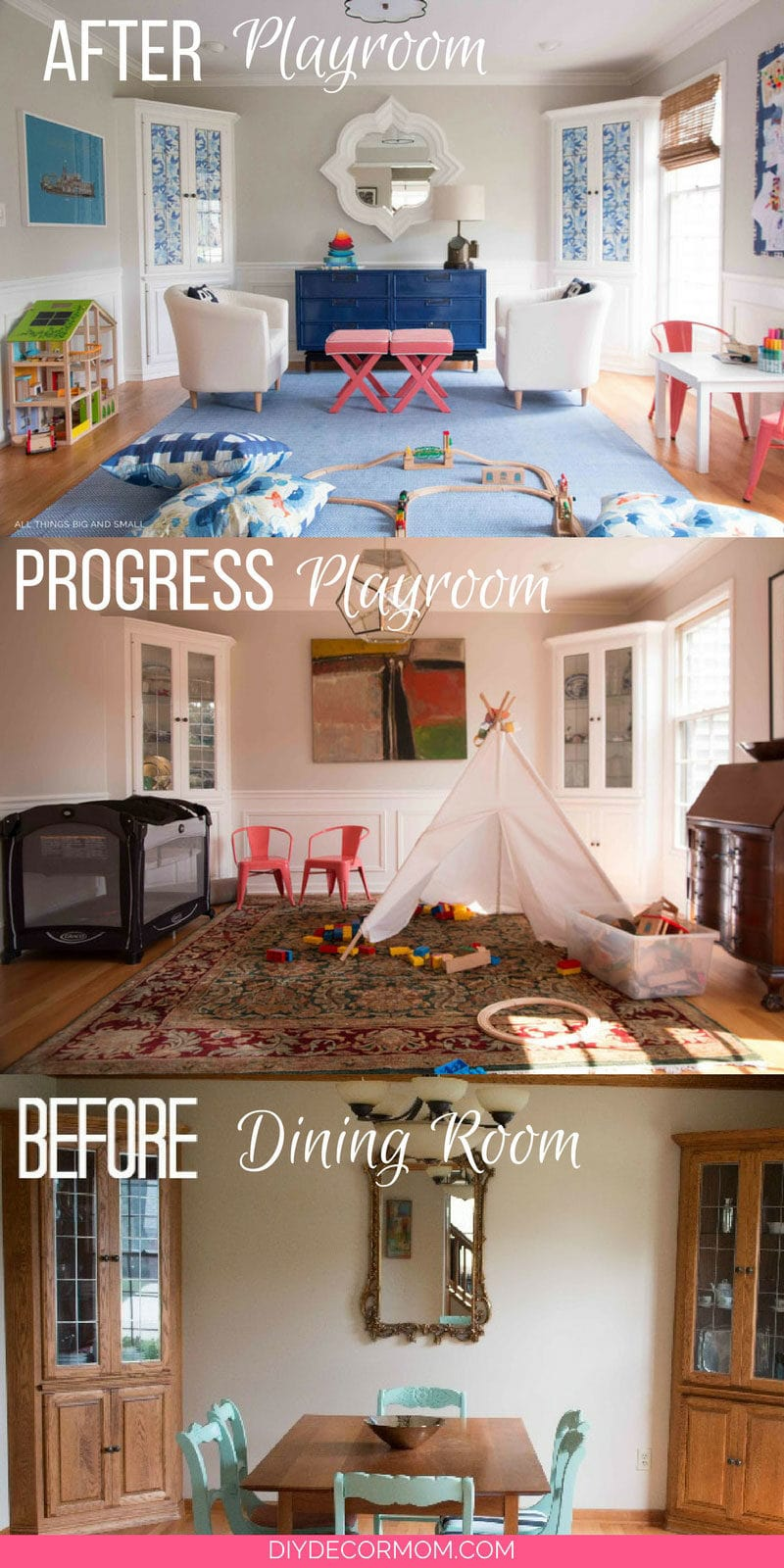 Before and After Playroom Decor Makeover ALL DIY - Semi Flush Ceiling Lights by popular home decor blogger DIY Decor Mom