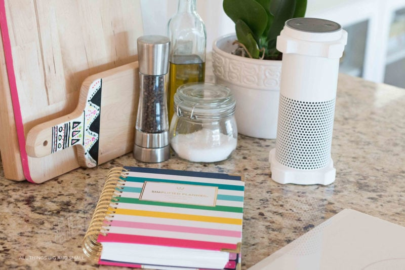 mom daily planner on kitchen countertop- tips for helping big siblings cope with new baby