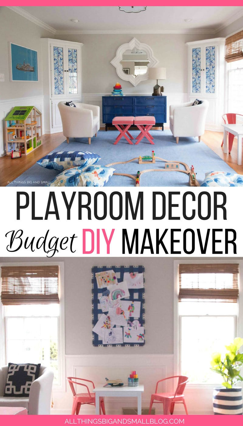 playroom decor makeover on a budget--see a dining room playroom makeover
