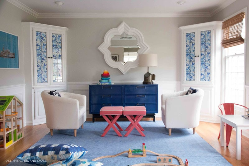 such darling preppy playroom decor