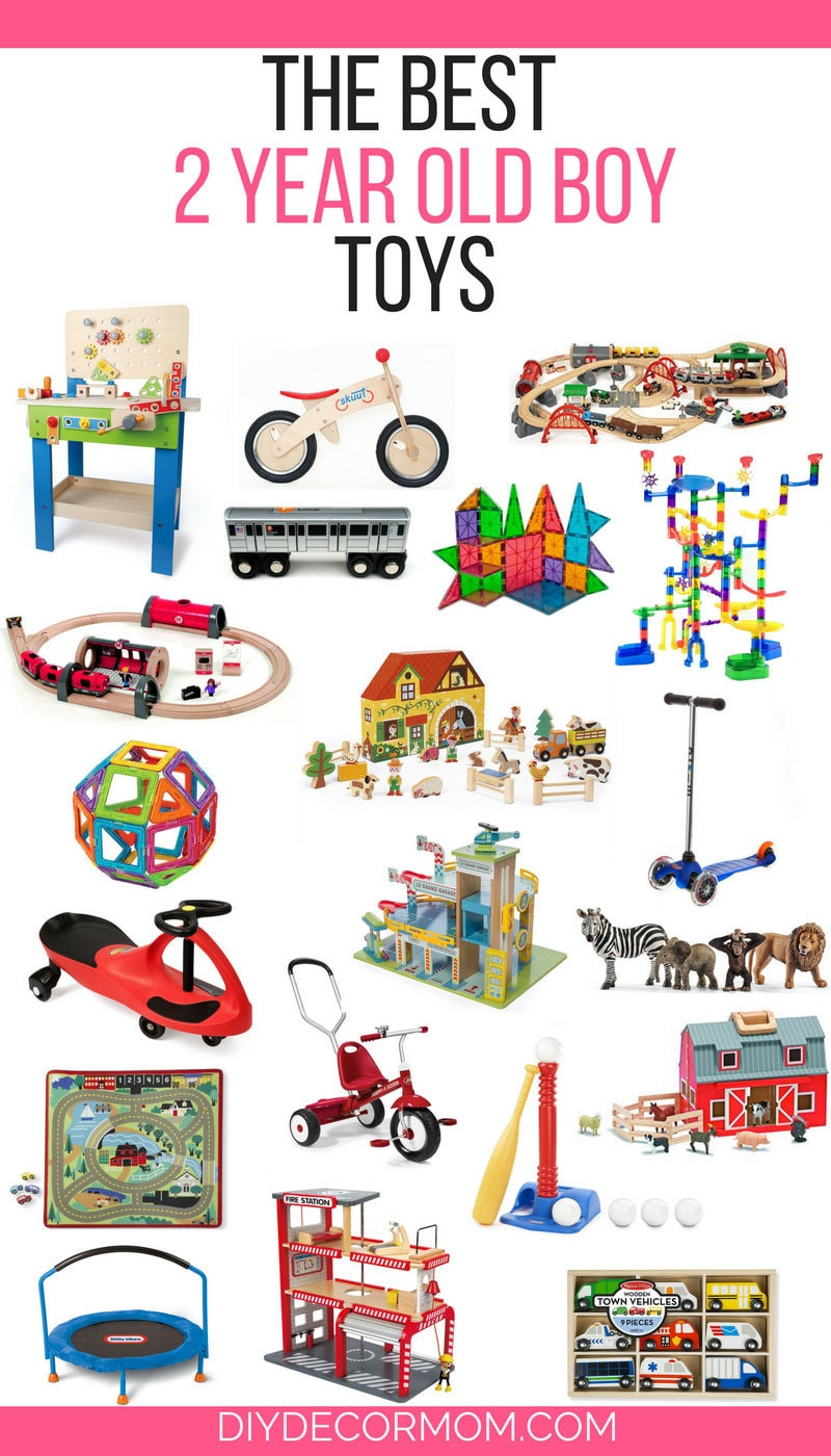 best toys for 2 year old boys--collage of toys for 2 yr old boys including tool bench, balance bike, trains, magnatiles, tricycle, and cars!