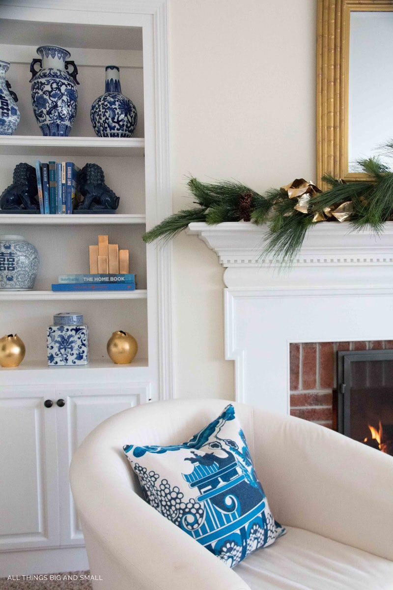 Small Decorated Christmas Trees: Pink and Blue and Gold ALL OVER by popular home decor blogger DIY Decor Mom