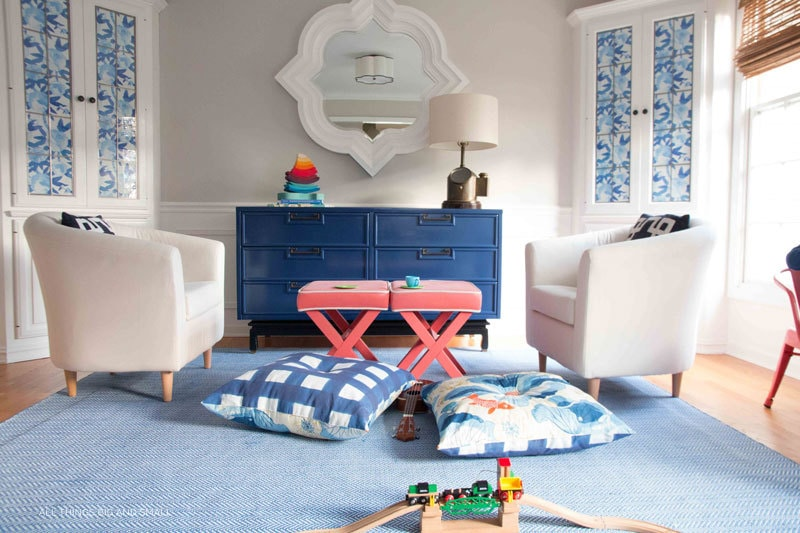 blue playroom decor LOVE! such a cute playroom makeover