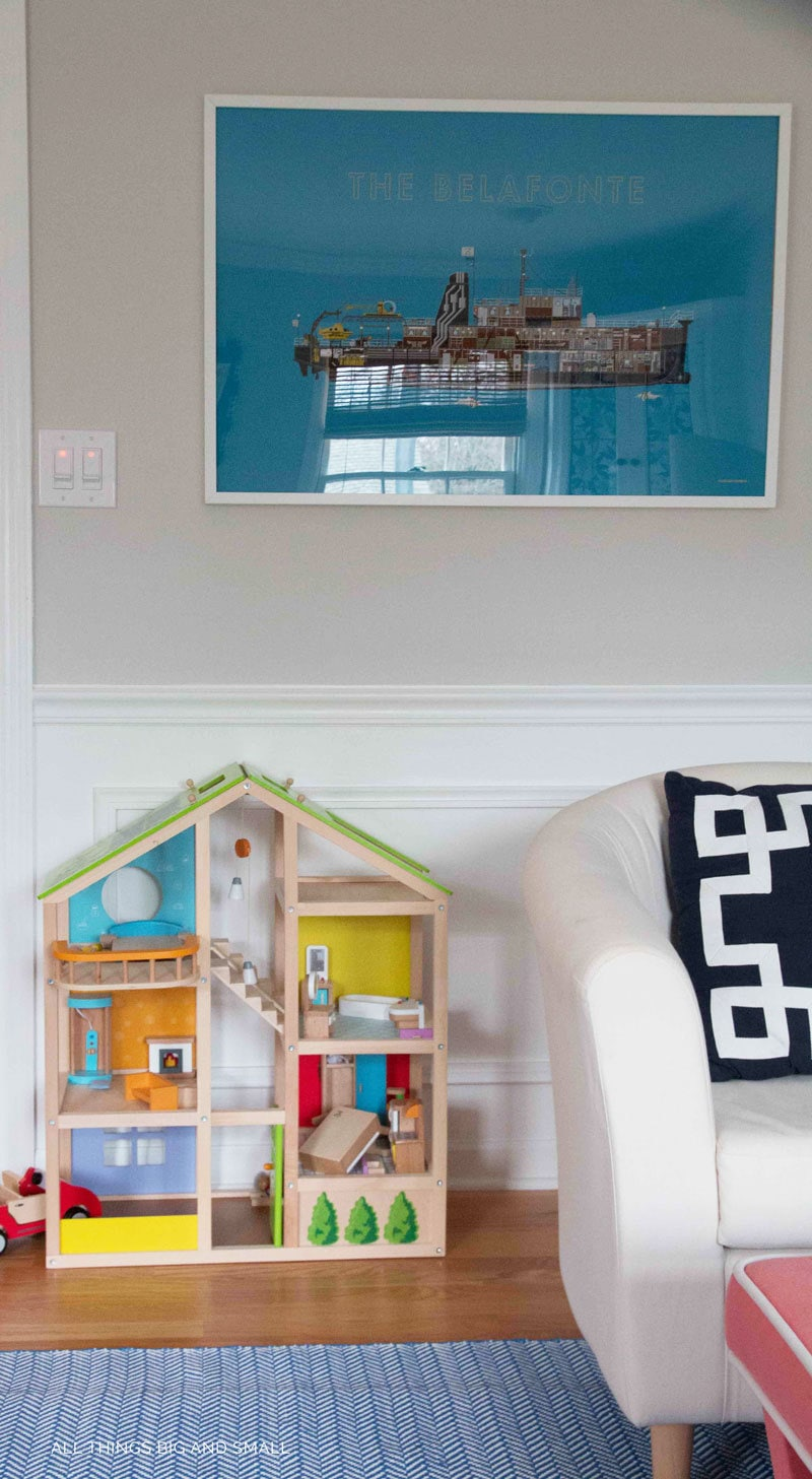 such a cute kids playroom with dollhouse --love the playroom dollhouse too!