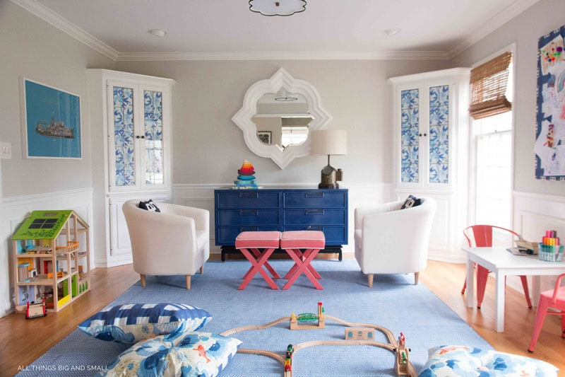 colorful playroom makeover blue rug dollhouse play kitchen playroom makeover built ins