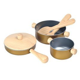 wooden play food gold pans - Wooden Play Food by popular style blog DIY Decor Mom