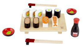 woodenn play food sushi set - Wooden Play Food by popular style blog DIY Decor Mom