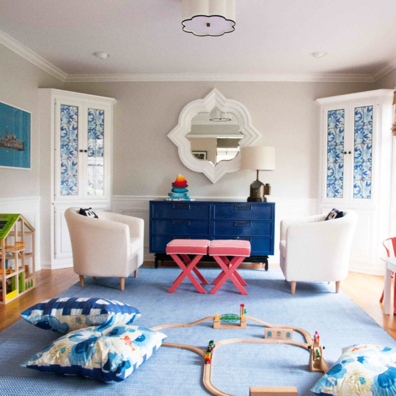 OMG! Such an amazing before and after playroom makeover--great playroom decor ideas! - Semi Flush Ceiling Lights by popular home decor blogger DIY Decor Mom