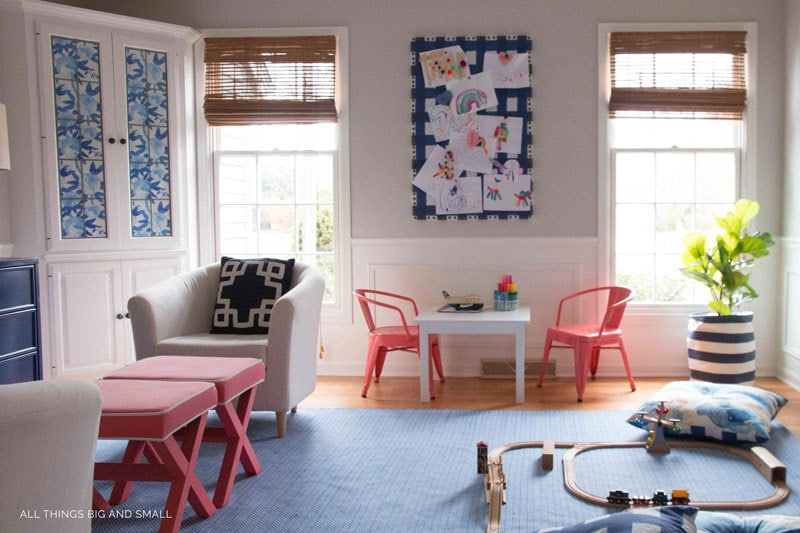 playroom decor and playroom makeover ideas blue buffalo check bulletin board blue playroom rug trains and play table