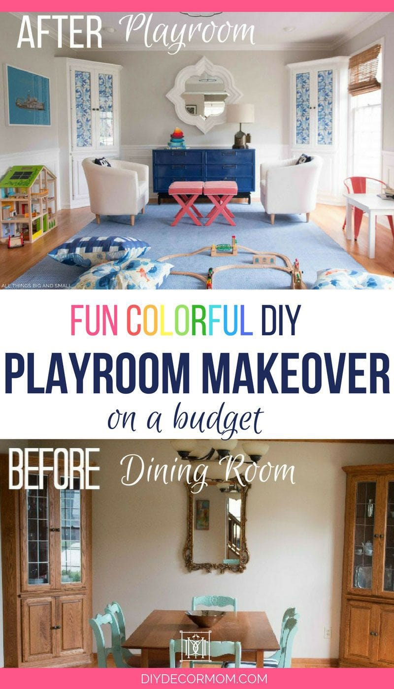 colorful blue and white playroom decor before and after