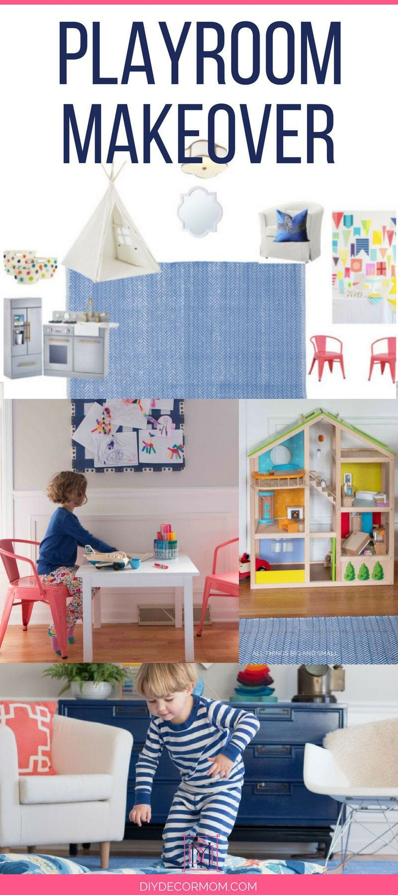 playroom decor and playroom makeover design for colorful playroom with kids