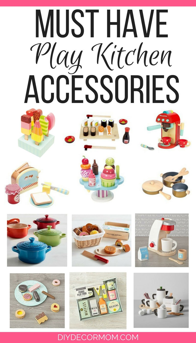 The CUTEST wooden play food perfect for play kitchens! Love these wooden play kitchen accessories! - Wooden Play Food by popular style blog DIY Decor Mom