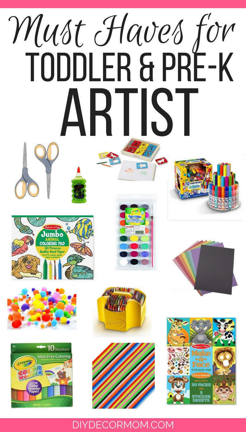 Such good ideas for art gifts for preschoolers! These are the perfect presents for a preschooler who loves art! Perfect gift ideas for the budding preschool artist! - Art Gifts for the Preschooler who Wants to Be an Artist by popular mom blogger DIY Decor Mom