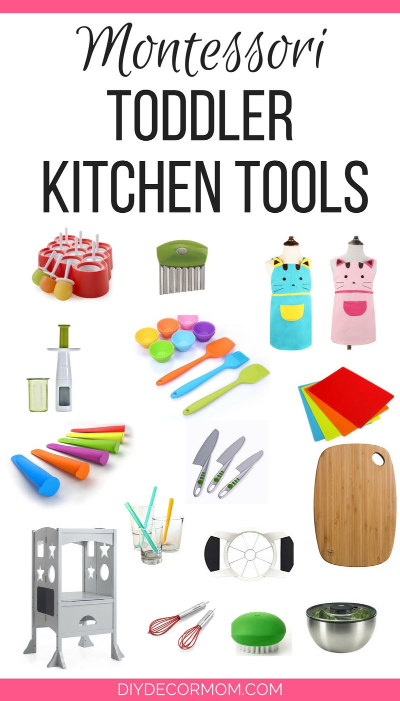 The best Kids Cooking Utensils that help kids help out in the kitchen--great montessori tools for toddlers and preschoolers! - Kids Cooking Utensils: The Best Tools for Getting Kids Helping in the Kitchen by popular mom blogger DIY Decor Mom