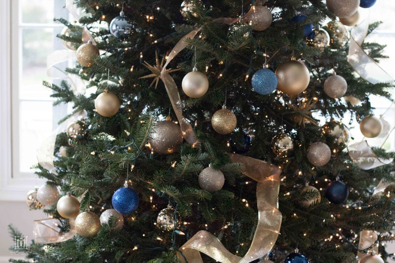 Small Decorated Christmas Trees: Pink and Blue and Gold ALL OVER by Wisconsin style blogger DIY Decor Mom