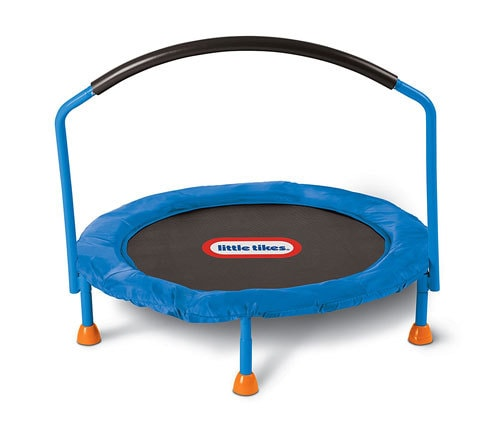 indoor trampoline- toddler toy ideas - Toy Ideas for Long Winters AKA How to Survive Long Winters with Kids by popular mom blogger DIY Decor Mom