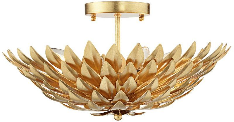 semi-flush-ceiling-light-gold-flower - Semi Flush Ceiling Lights by popular home decor blogger DIY Decor Mom