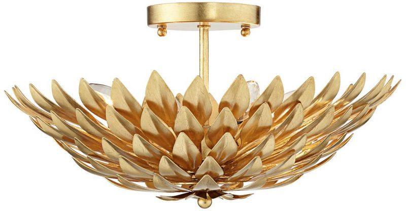 semi-flush-ceiling-light-gold-flower - Semi Flush Ceiling Lights by popular home decor blogger DIY Decor Mom