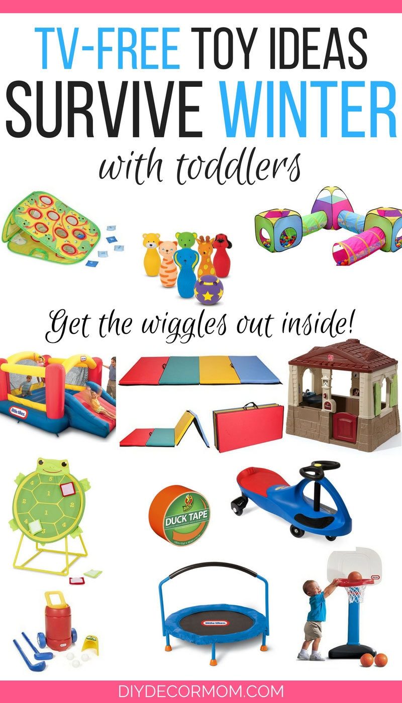 SAVING THIS! Such a great list of toy ideas for toddlers for surviving winter months--great TV free activities for toddlers for inside play! - Toy Ideas for Long Winters AKA How to Survive Long Winters with Kids by popular mom blogger DIY Decor Mom