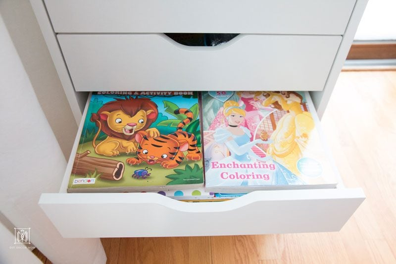 coloring book and art supply storage--these kids art storage tips work for any  home with kids!