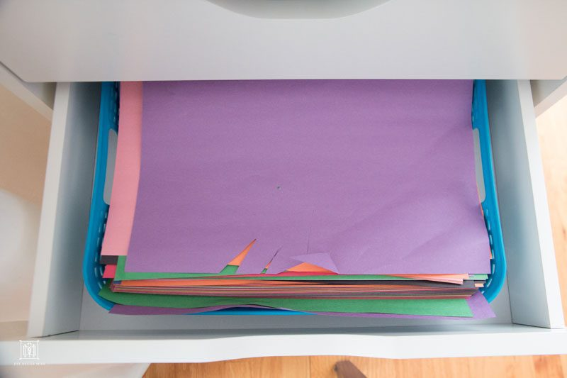 craft paper in art supply drawers--how to organize kids art storage by home decor blogger DIY Decor Mom
