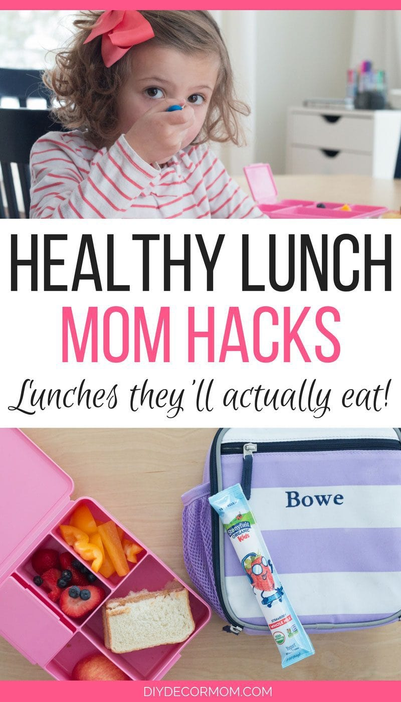 Toddler Lunch Tips for toddlers | girl eating yogurt and lunch box