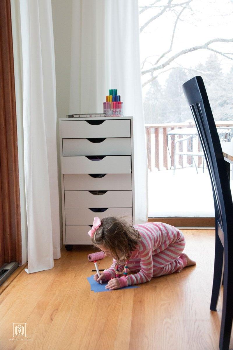 kids art supply storage system--how to organize kids art supplies by home decor blogger DIY Decor Mom