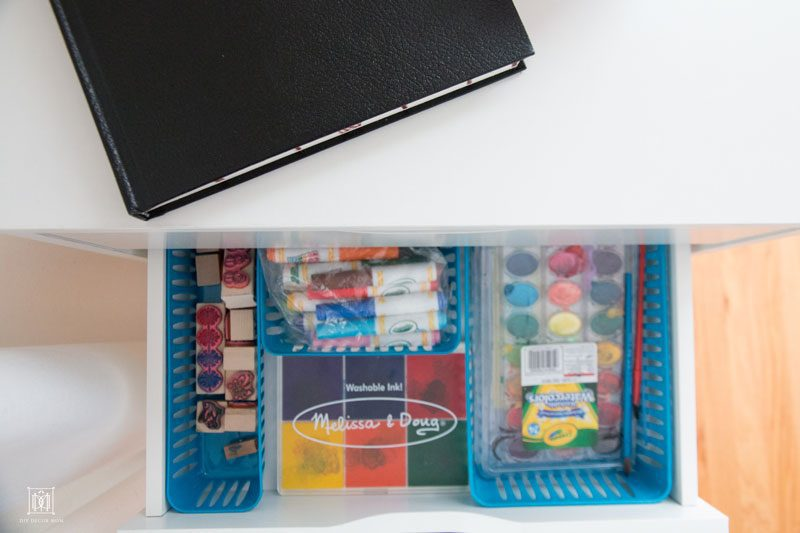 how to organize kids crafts supplies and kids art supply storage systems on DIY Decor Mom