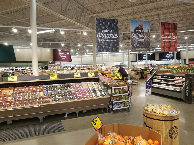 produce aisle at meijer
