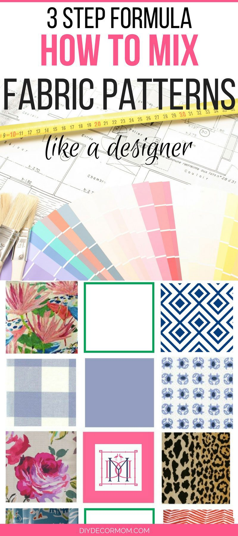 mixing fabric patterns guide with steps to mix colors and pattern in your home decor by DIY Decor Mom