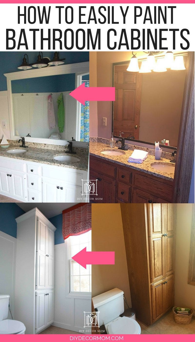 before and after white painted bathroom cabinets--how to paint bathroom cabinets tutorial