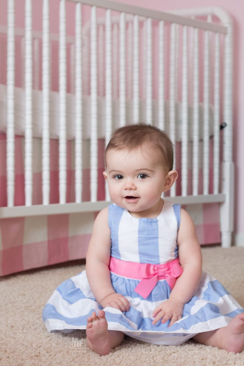 baby girl in blue and white stripe dress spring clothes for babies