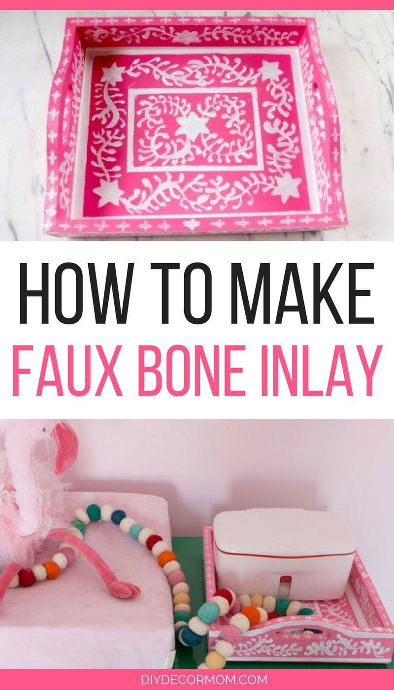 DIY Faux Bone Inlay Tray | how to make your own faux bone inlay tray | see all the home decor DIYs by popular blogger DIY Decor Mom