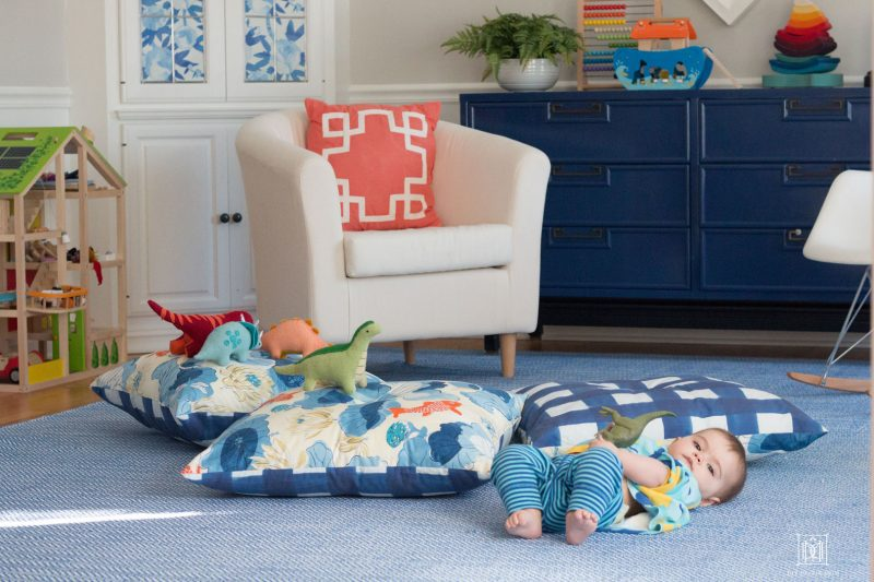 baby on floor with giant cushions | DIY floor pillow tutorial
