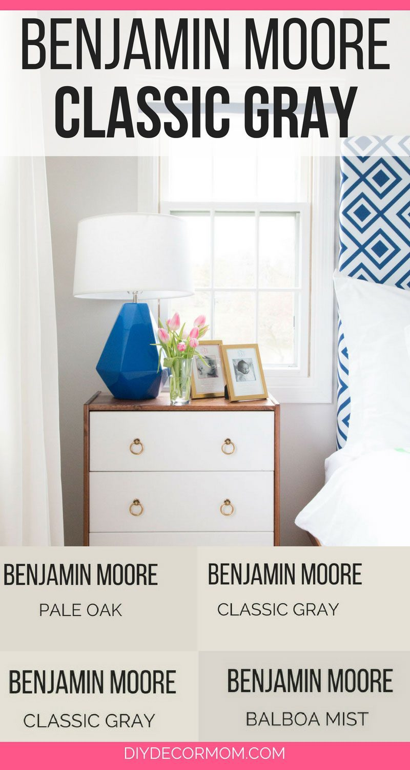 benjamin moore classic gray bedroom with white curtains and bedside table
