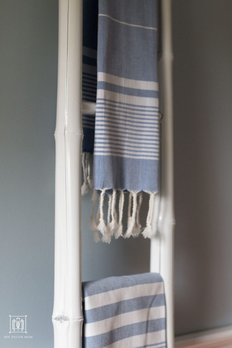 blue and white turkish towel in blue and white bathroom