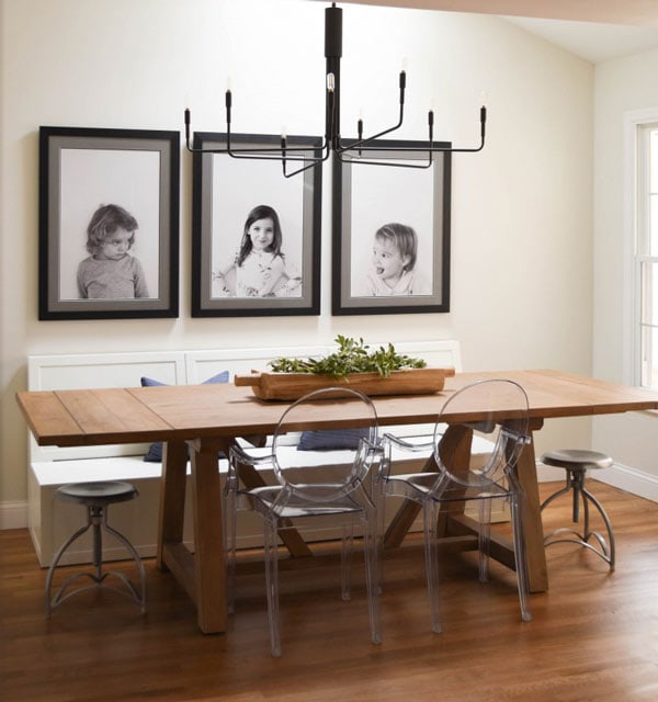 farmhouse dining room with light gray paint- BM 1548 on walls