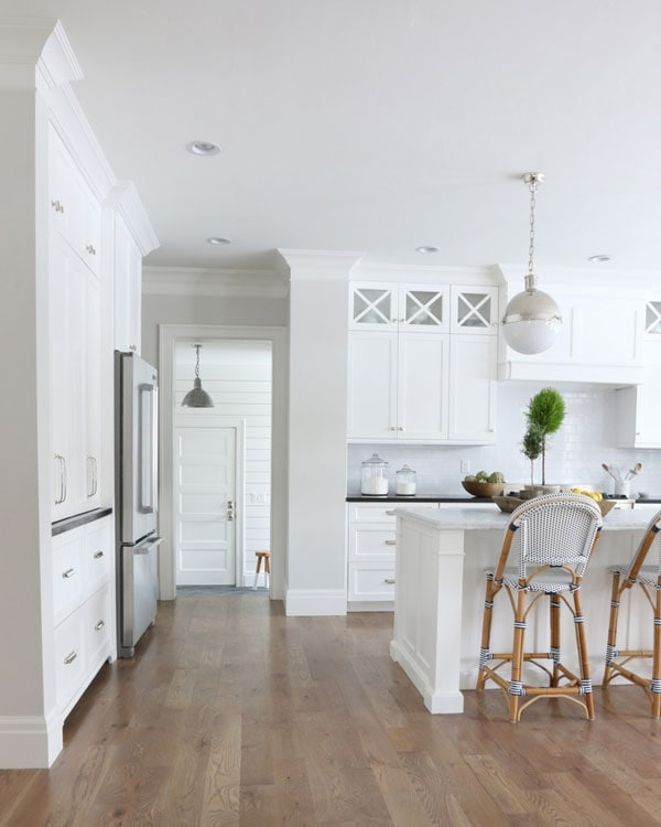BM 1548 classic gray kitchen by Studio McGee with Simply White cabinets