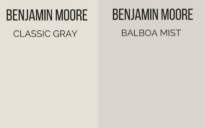 Benjamin Moore Classic Gray vs Benjamin Moore Balboa Mist