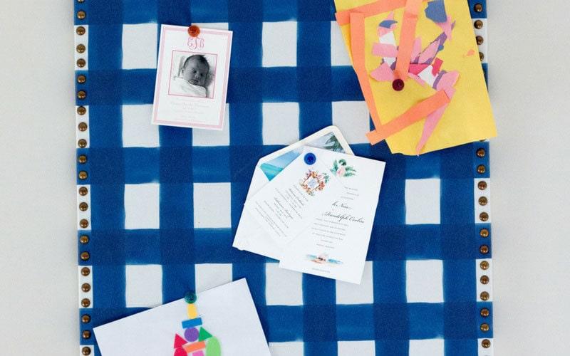 fabric bulletin board blue buffalo check fabric